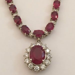 Solid 14K White Gold Genuine Ruby Diamond Necklace